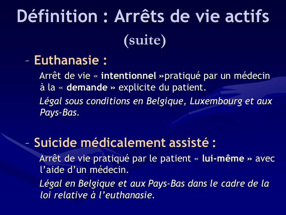 Définition : Arrêts de vie actifs (suite) (suite) –Euthanasie : Arrêt de vie « intentionnel »pratiqué par un médecin à la « demande » explicite du pat