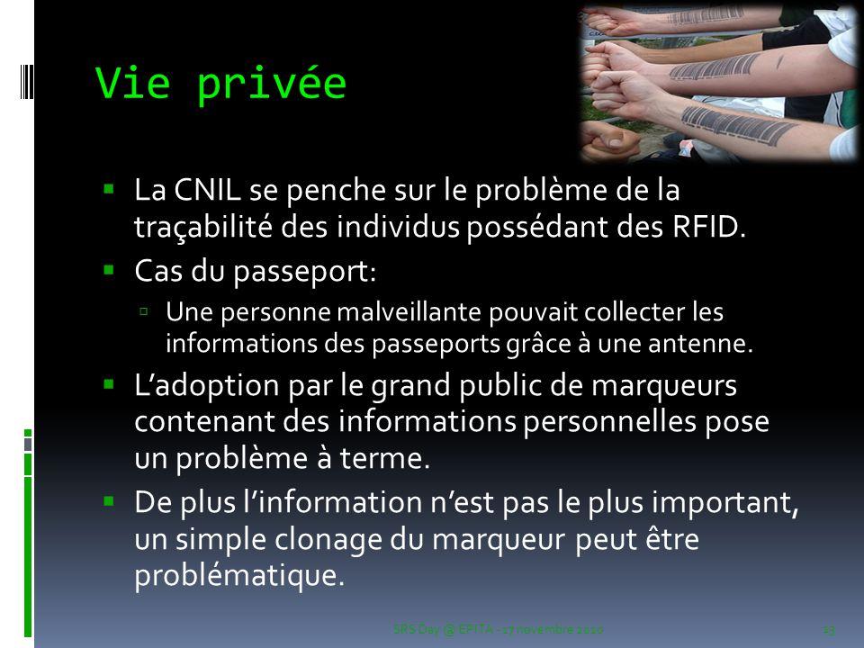 Vie privée  La CNIL se penche sur le problème de la traçabilité des individus possédant des RFID.  Cas du passeport:  Une personne malveillante pou