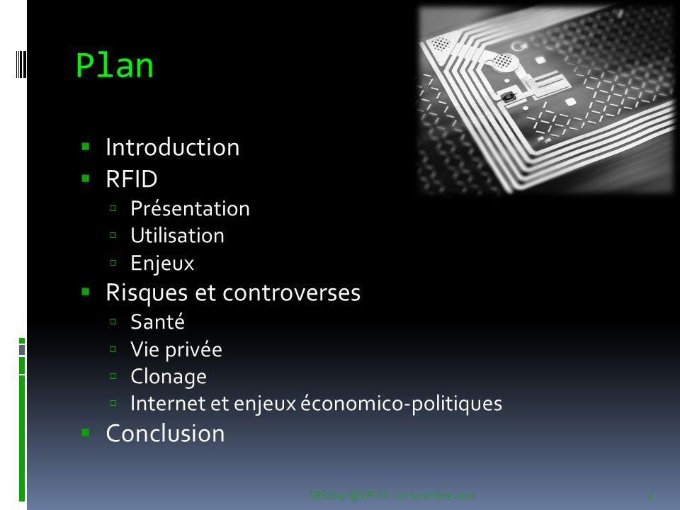 Plan SRS Day @ EPITA - 17 novembre 2010 2  Introduction  RFID  Présentation  Utilisation  Enjeux  Risques et controverses  Santé  Vie privée 