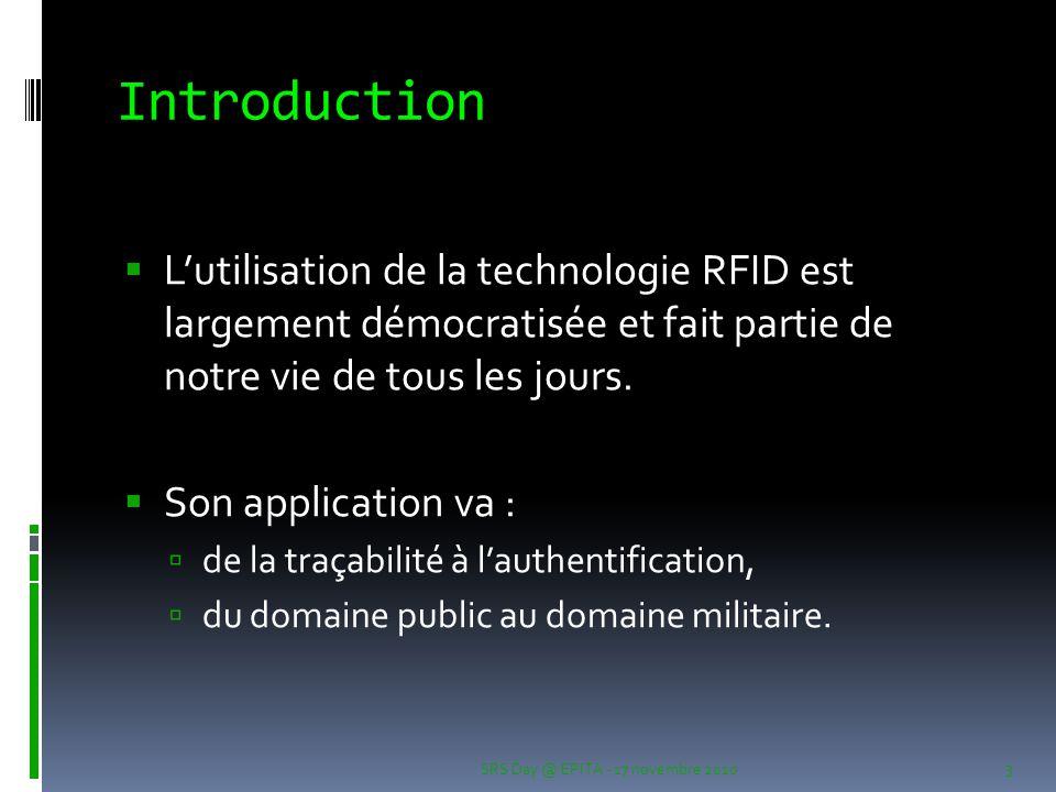 Introduction  L'utilisation de la technologie RFID est largement démocratisée et fait partie de notre vie de tous les jours.  Son application va : 