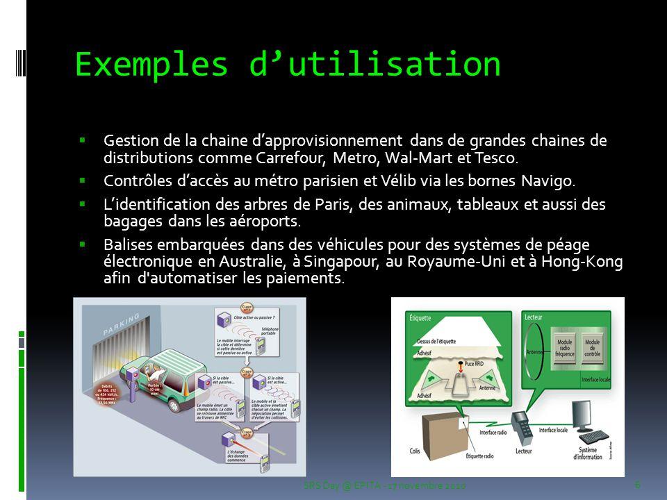 Exemples d'utilisation  Gestion de la chaine d'approvisionnement dans de grandes chaines de distributions comme Carrefour, Metro, Wal-Mart et Tesco.