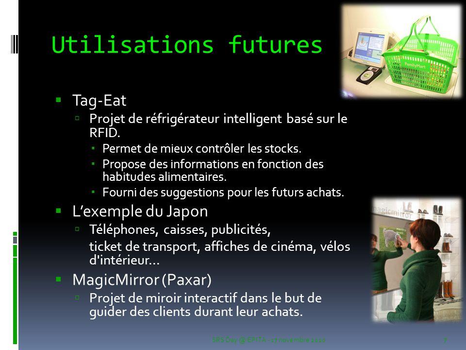 Utilisations futures  Tag-Eat  Projet de réfrigérateur intelligent basé sur le RFID.  Permet de mieux contrôler les stocks.  Propose des informati