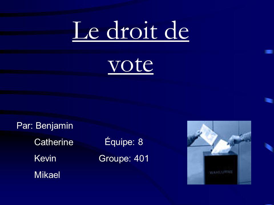 Le droit de vote Par: Benjamin Catherine Kevin Mikael Équipe: 8 Groupe: 401