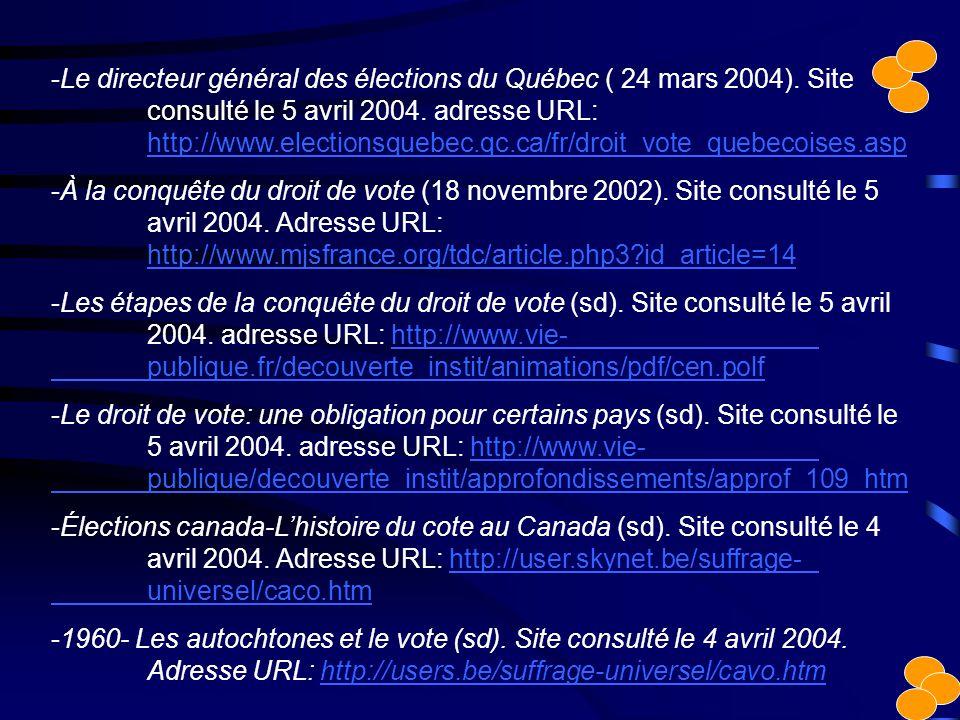 -Le directeur général des élections du Québec ( 24 mars 2004). Site consulté le 5 avril 2004. adresse URL: http://www.electionsquebec.qc.ca/fr/droit_v