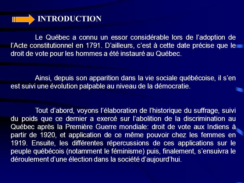 INTRODUCTION Le Québec a connu un essor considérable lors de l'adoption de l'Acte constitutionnel en 1791. D'ailleurs, c'est à cette date précise que