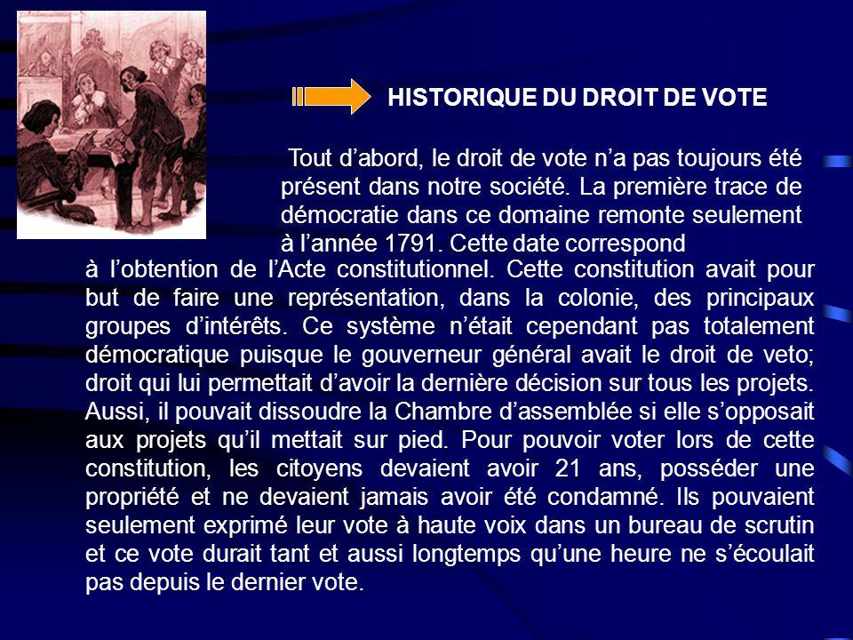 HISTORIQUE DU DROIT DE VOTE à l'obtention de l'Acte constitutionnel. Cette constitution avait pour but de faire une représentation, dans la colonie, d