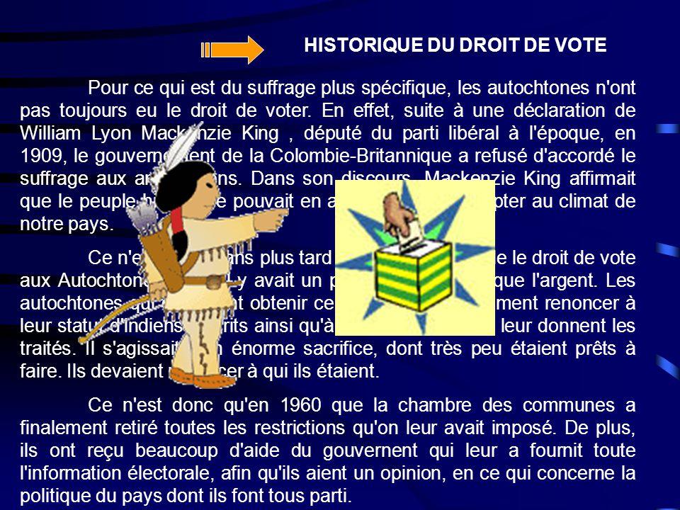 Pour ce qui est du suffrage plus spécifique, les autochtones n'ont pas toujours eu le droit de voter. En effet, suite à une déclaration de William Lyo