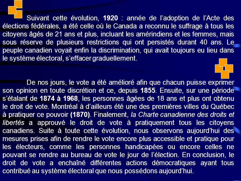 Suivant cette évolution, 1920 : année de l'adoption de l'Acte des élections fédérales, a été celle où le Canada a reconnu le suffrage à tous les citoyens âgés de 21 ans et plus, incluant les amérindiens et les femmes, mais sous réserve de plusieurs restrictions qui ont persistés durant 40 ans.