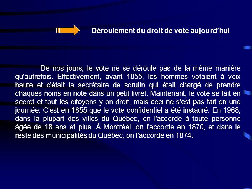 De nos jours, le vote ne se déroule pas de la même manière qu'autrefois. Effectivement, avant 1855, les hommes votaient à voix haute et c'était la sec