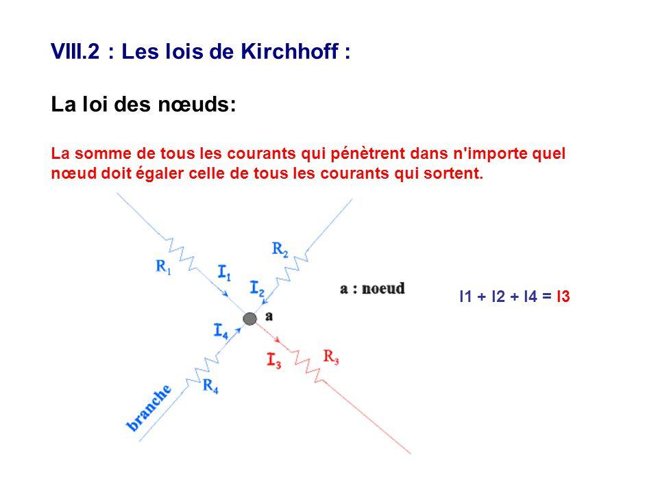 VIII.2 : Les lois de Kirchhoff : La loi des nœuds: La somme de tous les courants qui pénètrent dans n'importe quel nœud doit égaler celle de tous les