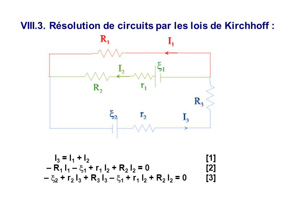 VIII.3. Résolution de circuits par les lois de Kirchhoff : I 3 = I 1 + I 2 [1] – R 1 I 1 –  1 + r 1 I 2 + R 2 I 2 = 0 [2] –  2 + r 2 I 3 + R 3 I 3