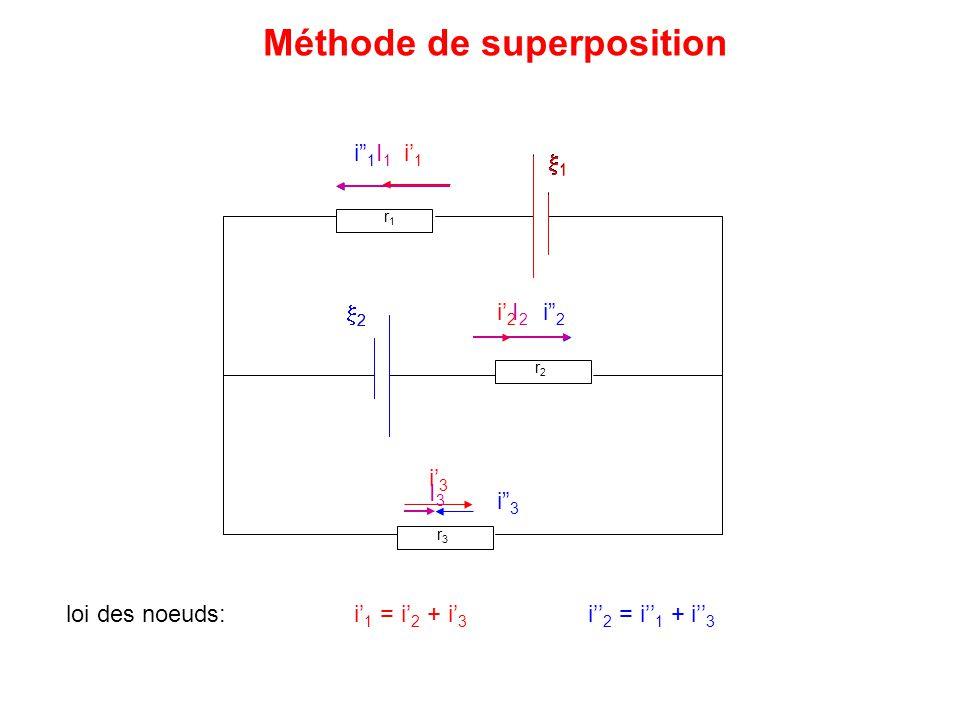 """11 r1r1 r2r2 r3r3 11 22 i' 1 i' 2 i' 3 22 i"""" 3 i"""" 2 i"""" 1 I1I1 I3I3 I2I2 Méthode de superposition loi des noeuds: i' 1 = i' 2 + i' 3 i'' 2 = i'"""