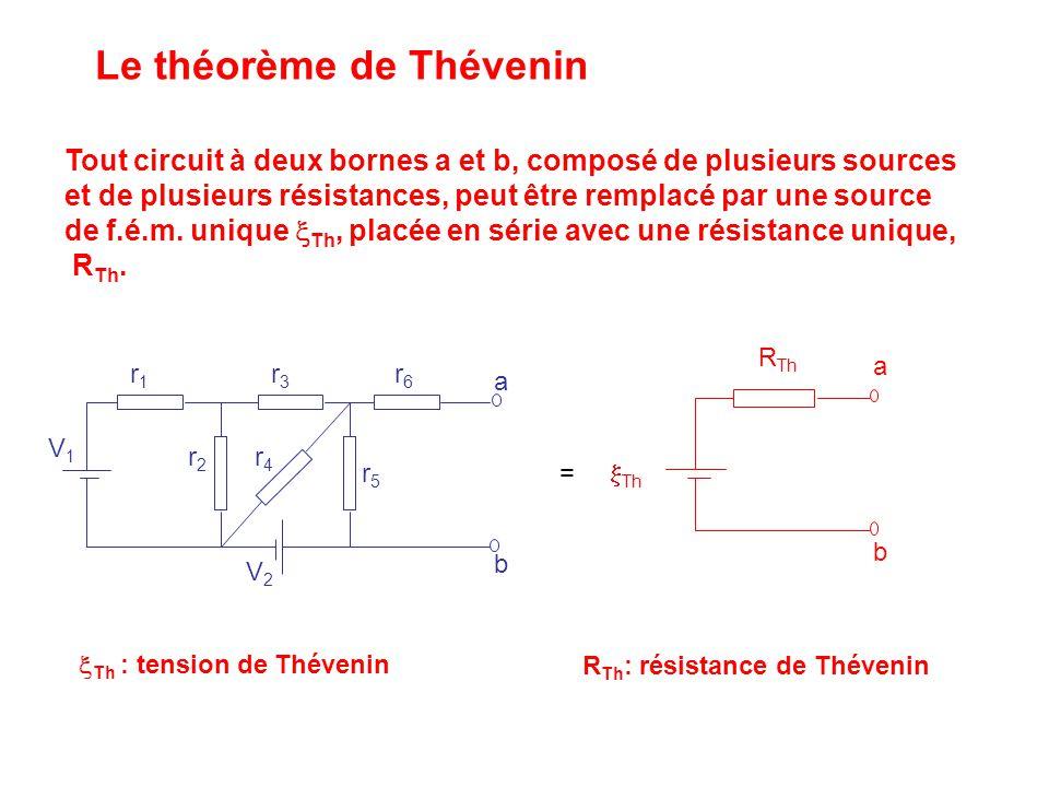 Le théorème de Thévenin a b V1V1 V2V2 r6r6 r5r5 r4r4 r3r3 r2r2 r1r1 R Th  Th a b Tout circuit à deux bornes a et b, composé de plusieurs sources et d