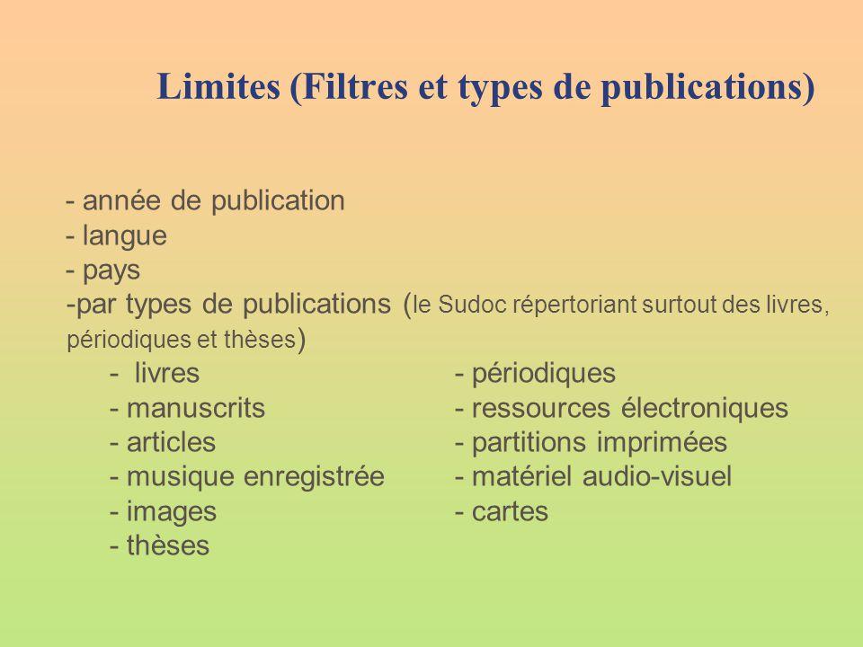 Limites (Filtres et types de publications) - année de publication - langue - pays -par types de publications ( le Sudoc répertoriant surtout des livre