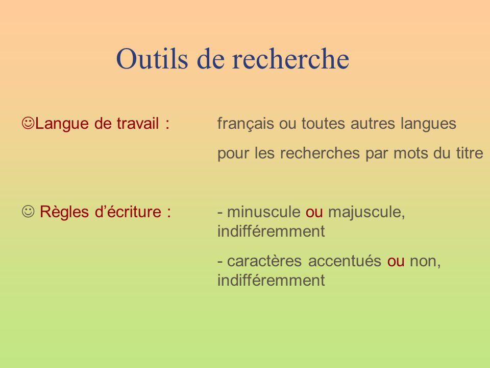 Outils de recherche  Langue de travail :français ou toutes autres langues pour les recherches par mots du titre  Règles d'écriture :- minuscule ou majuscule, indifféremment - caractères accentués ou non, indifféremment