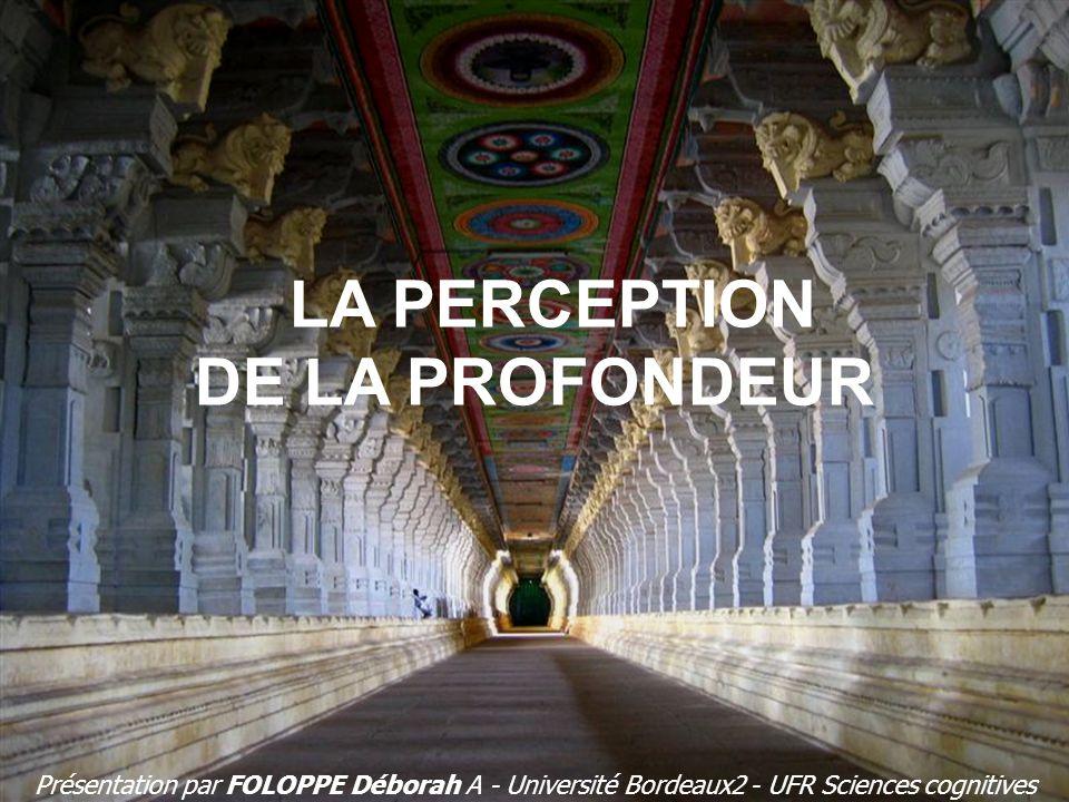 LA PERCEPTION DE LA PROFONDEUR Présentation par FOLOPPE Déborah A - Université Bordeaux2 - UFR Sciences cognitives