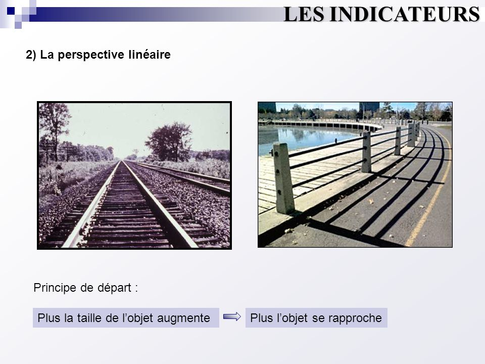 LES INDICATEURS 2) La perspective linéaire Plus la taille de l'objet augmentePlus l'objet se rapproche Principe de départ :