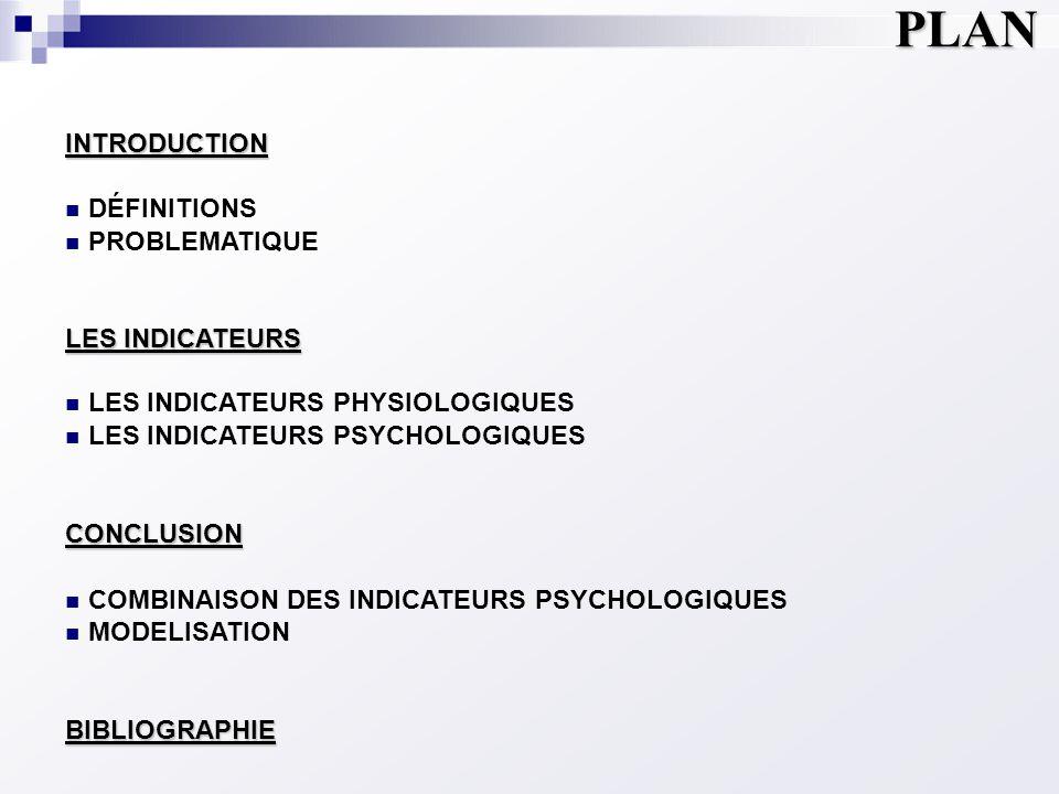 INTRODUCTION  DÉFINITIONS  PROBLEMATIQUE LES INDICATEURS  LES INDICATEURS PHYSIOLOGIQUES  LES INDICATEURS PSYCHOLOGIQUESCONCLUSION  COMBINAISON D