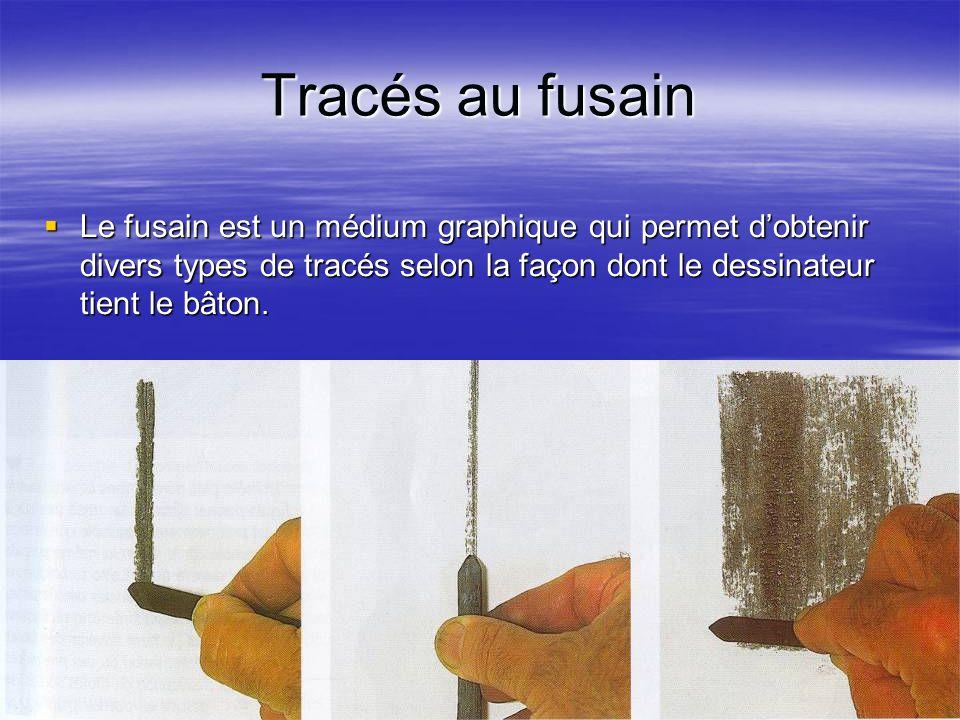 Tracés au fusain  Le fusain est un médium graphique qui permet d'obtenir divers types de tracés selon la façon dont le dessinateur tient le bâton.