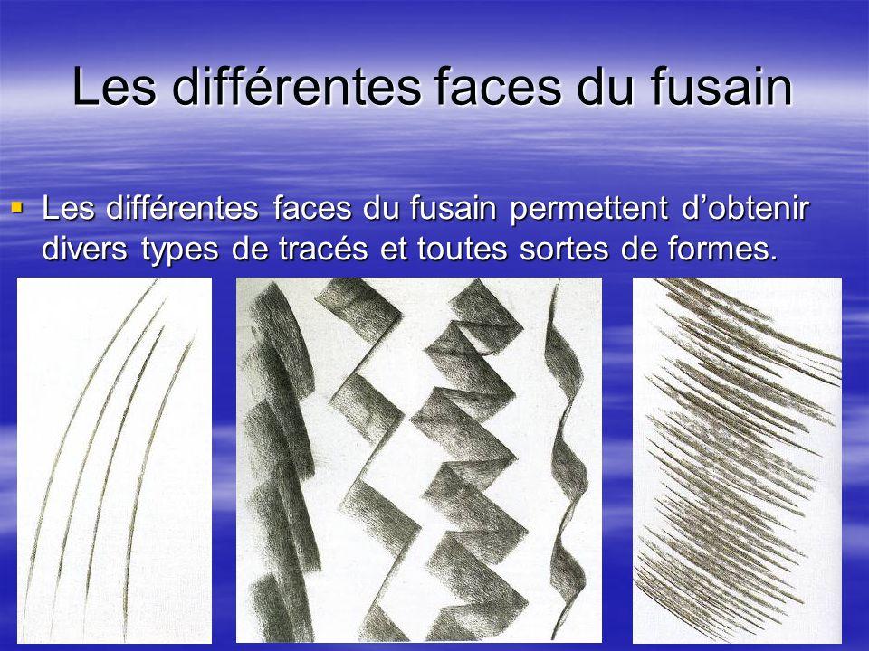 Les différentes faces du fusain  Les différentes faces du fusain permettent d'obtenir divers types de tracés et toutes sortes de formes.