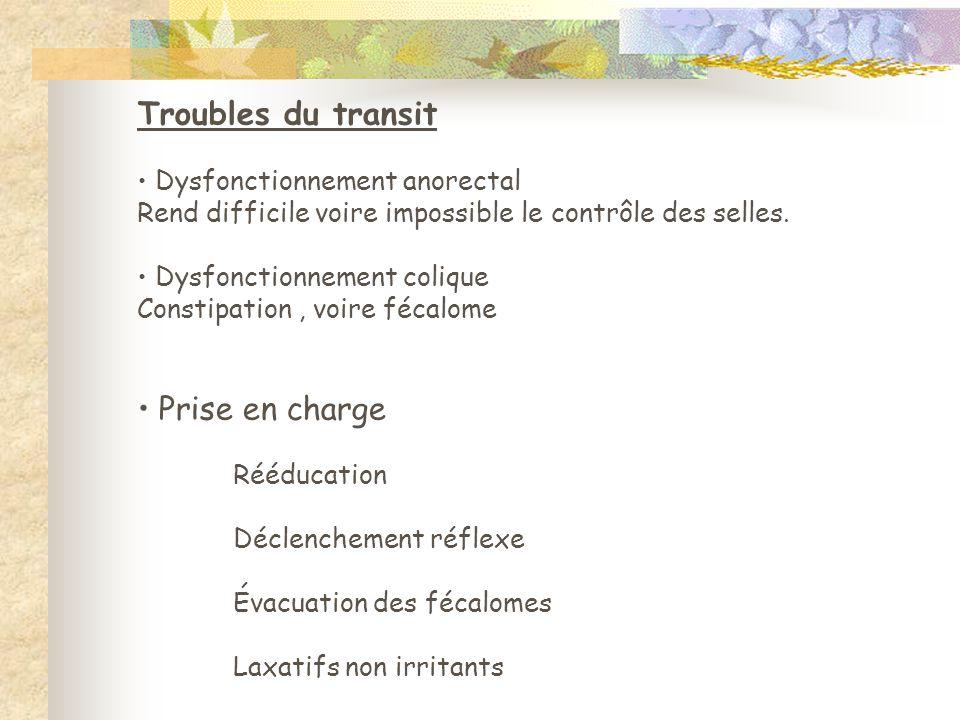 Troubles du transit • Dysfonctionnement anorectal Rend difficile voire impossible le contrôle des selles. • Dysfonctionnement colique Constipation, vo