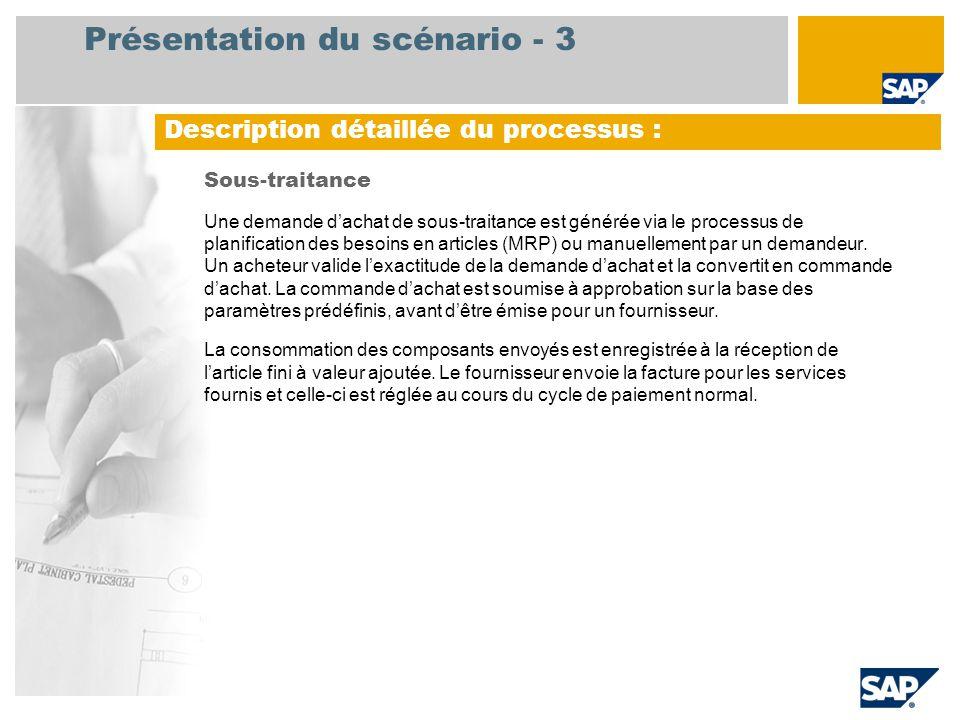 Présentation du scénario - 3 Sous-traitance Une demande d'achat de sous-traitance est générée via le processus de planification des besoins en article
