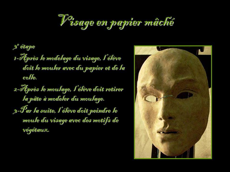 Visage en papier mâché 3 e étape 1-Après le modelage du visage, l'élève doit le mouler avec du papier et de la colle.