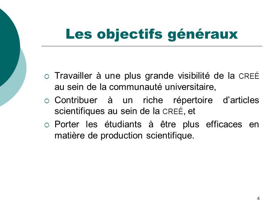 4 Les objectifs généraux  Travailler à une plus grande visibilité de la CREÉ au sein de la communauté universitaire,  Contribuer à un riche répertoi