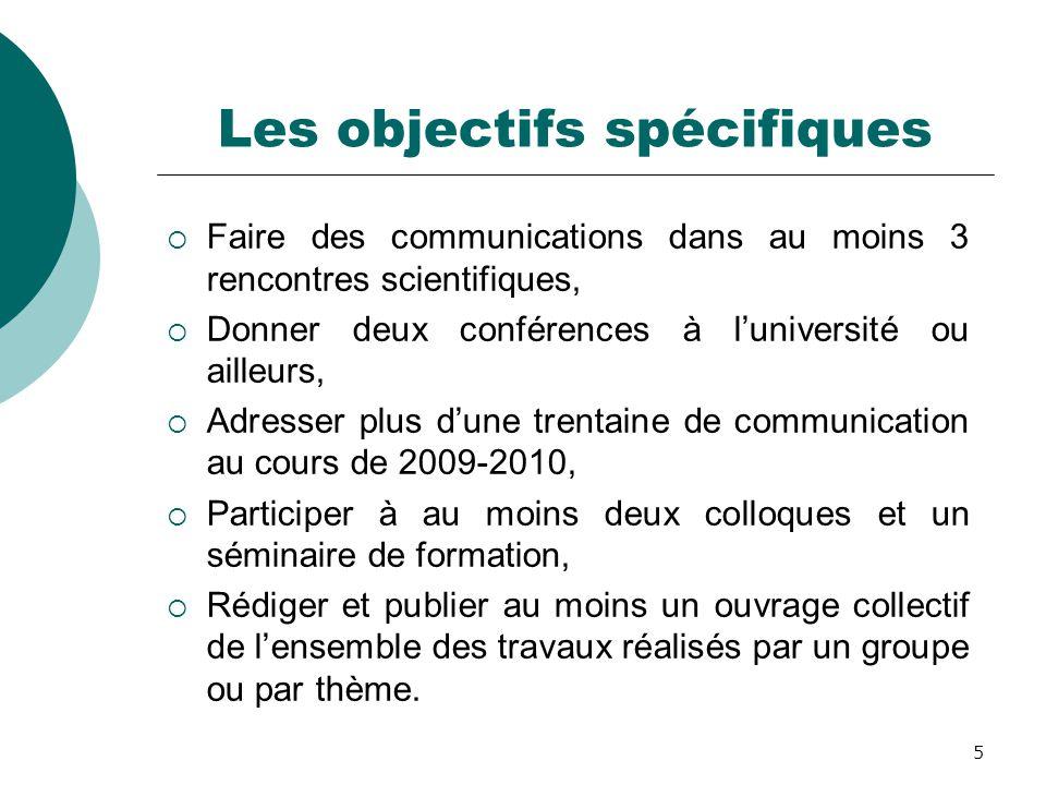 5 Les objectifs spécifiques  Faire des communications dans au moins 3 rencontres scientifiques,  Donner deux conférences à l'université ou ailleurs,