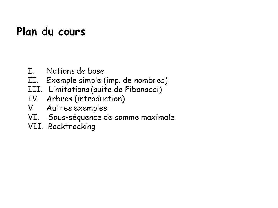 Plan du cours I.Notions de base II.Exemple simple (imp.