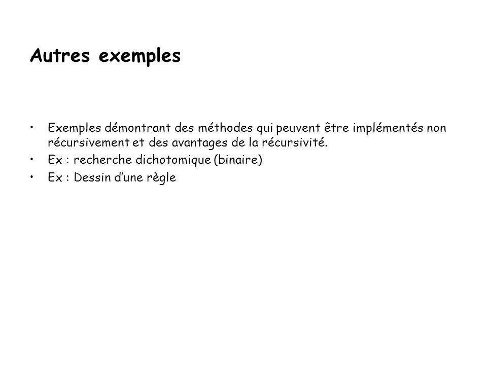 ARBRE DES APPELS (n=3) Déplacer (A,B) Déplacer (A,C) Hanoi (3,A,B,C) Hanoi (2,A,C,B) Hanoi (1,B,C,A)Hanoi (1,A,B,C) Déplacer (A,B)Déplacer (B,C) Hanoi (2,C,B,A) Déplacer (C,A) Déplacer (C,B) Déplacer (A,B)