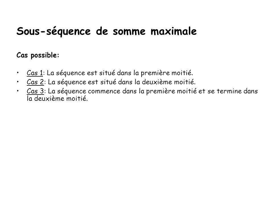 Sous-séquence de somme maximale Exemple: Soit les entiers suivants: {4, -3, 5, -2, -1, 2, 6, -2}.