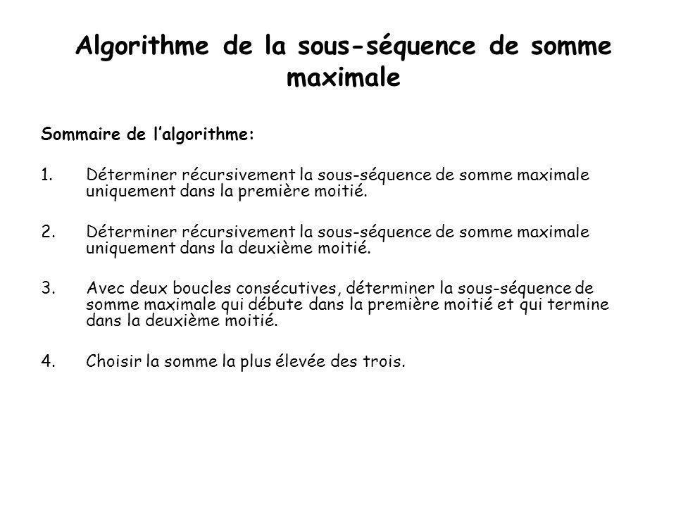 Sous-séquence de somme maximale Cas possible: •Cas 1: La séquence est situé dans la première moitié.
