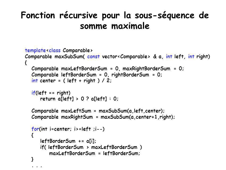 Algorithme de la sous-séquence de somme maximale Sommaire de l'algorithme: 1.Déterminer récursivement la sous-séquence de somme maximale uniquement dans la première moitié.