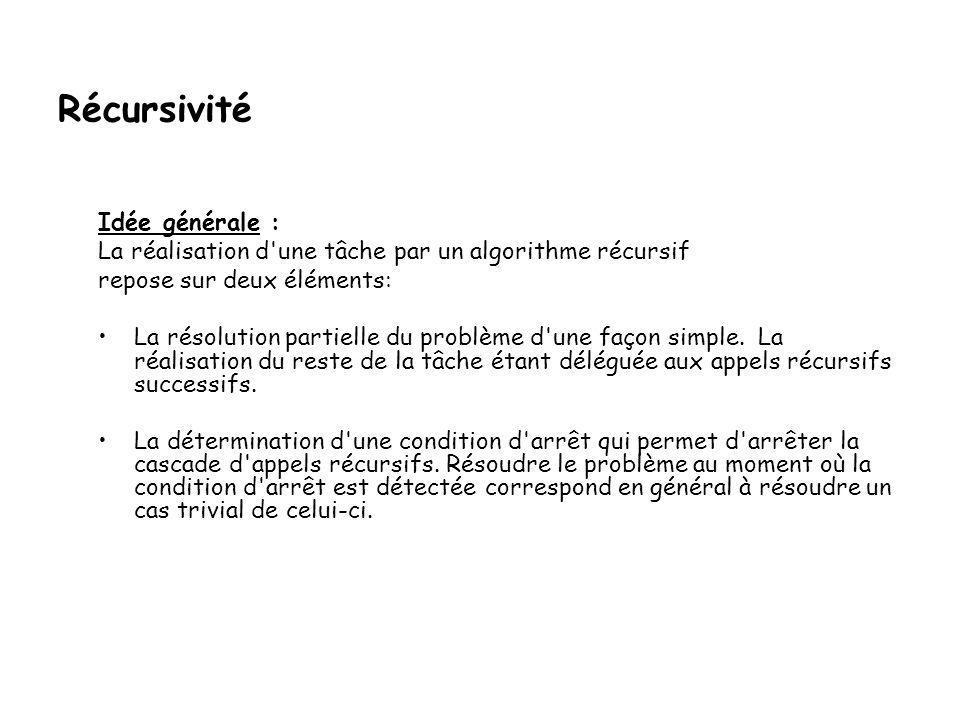 Récursivité Idée générale : La réalisation d une tâche par un algorithme récursif repose sur deux éléments: •La résolution partielle du problème d une façon simple.