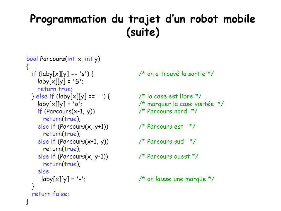 Programmation du trajet d'un robot mobile #define Y 9 /* Les dimensions du labyrinthe */ #define X 7 char laby[X][Y] = { { X , X , X , X , X , X , X , X , X }, { X , , , X , , , , , X }, { X , , X , X , , X , X , , X }, { X , , , , , , X , X , X }, { X , X , X , , X , , X , , X }, { X , s , , , , , , , X }, { X , X , X , X , X , X , X , X , X }}; int main() { int i, j; bool Parcours(int x, int y); if (Parcours(1,1)) { // Imprimer le résultat de la recherche for (i = 0; i < X; i++, cout<<endl) for (j = 0; j < Y; j++) cout<<laby[i][j]; } else cout<< Il n existe aucun chemin.\n ; return 0; }