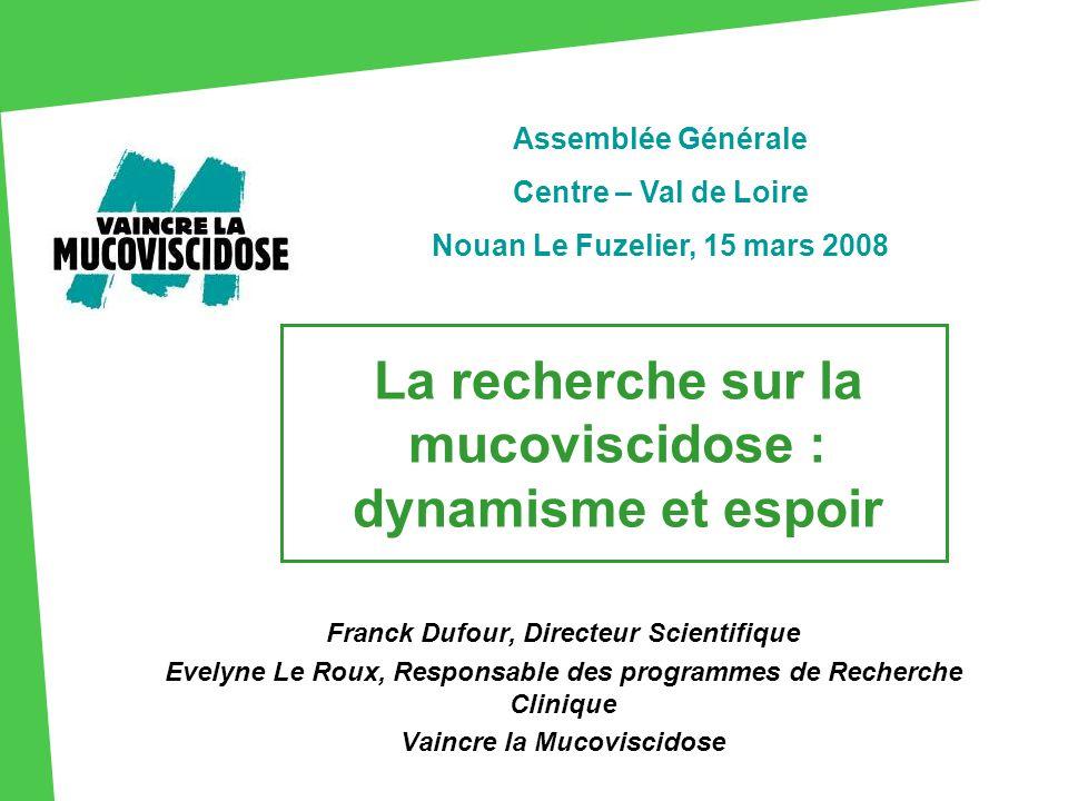 La recherche sur la mucoviscidose : dynamisme et espoir Franck Dufour, Directeur Scientifique Evelyne Le Roux, Responsable des programmes de Recherche