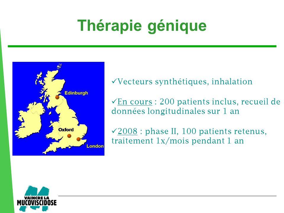  Vecteurs synthétiques, inhalation  2008 : phase II, 100 patients retenus, traitement 1x/mois pendant 1 an  En cours : 200 patients inclus, recueil