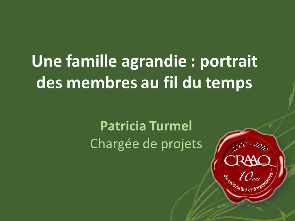 Une famille agrandie : portrait des membres au fil du temps Patricia Turmel Chargée de projets