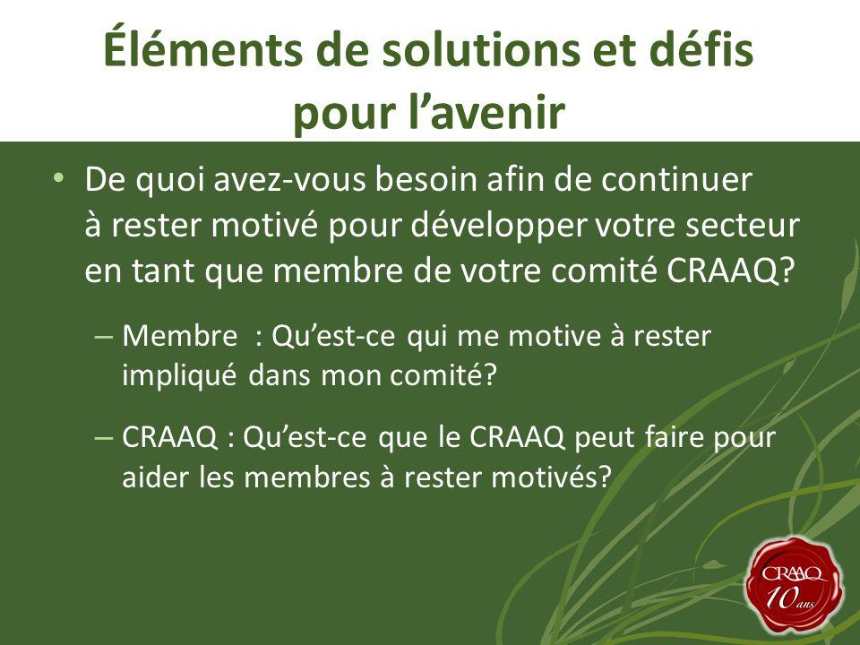 Éléments de solutions et défis pour l'avenir • De quoi avez-vous besoin afin de continuer à rester motivé pour développer votre secteur en tant que membre de votre comité CRAAQ.