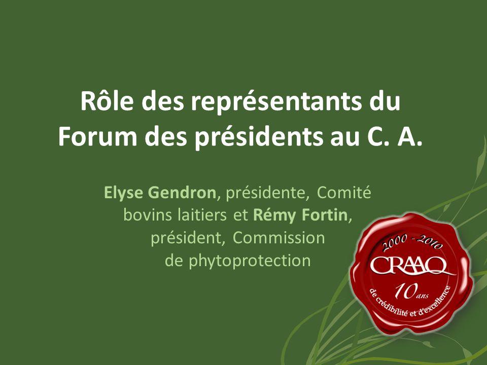 Rôle des représentants du Forum des présidents au C.
