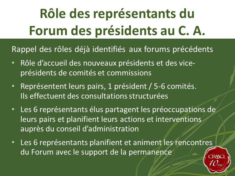Rappel des rôles déjà identifiés aux forums précédents • Rôle d'accueil des nouveaux présidents et des vice- présidents de comités et commissions • Représentent leurs pairs, 1 président / 5-6 comités.