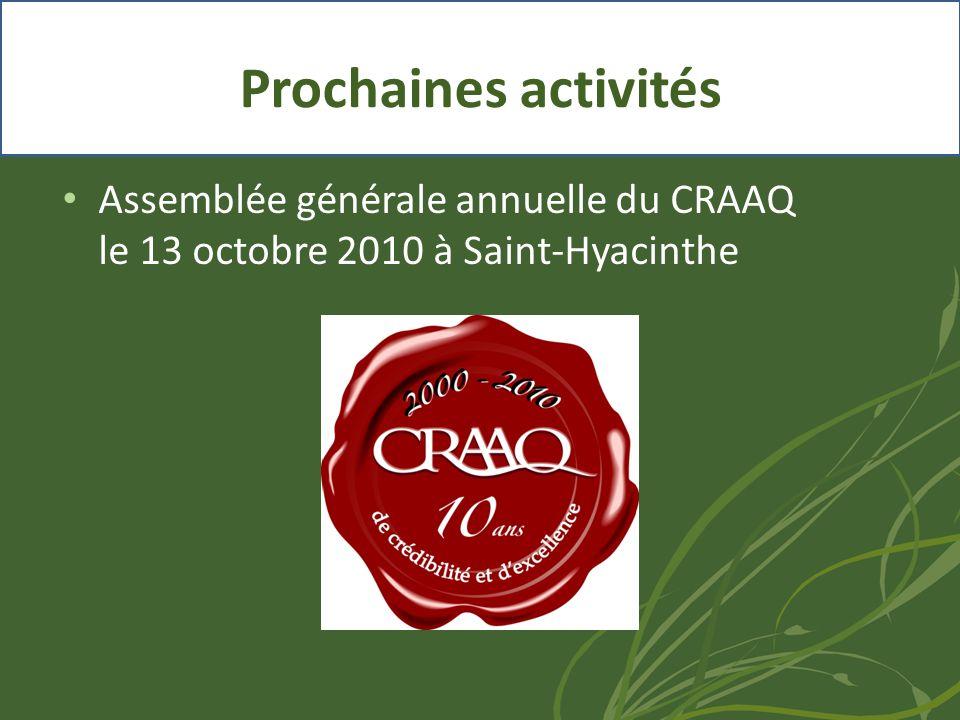 • Assemblée générale annuelle du CRAAQ le 13 octobre 2010 à Saint-Hyacinthe Prochaines activités