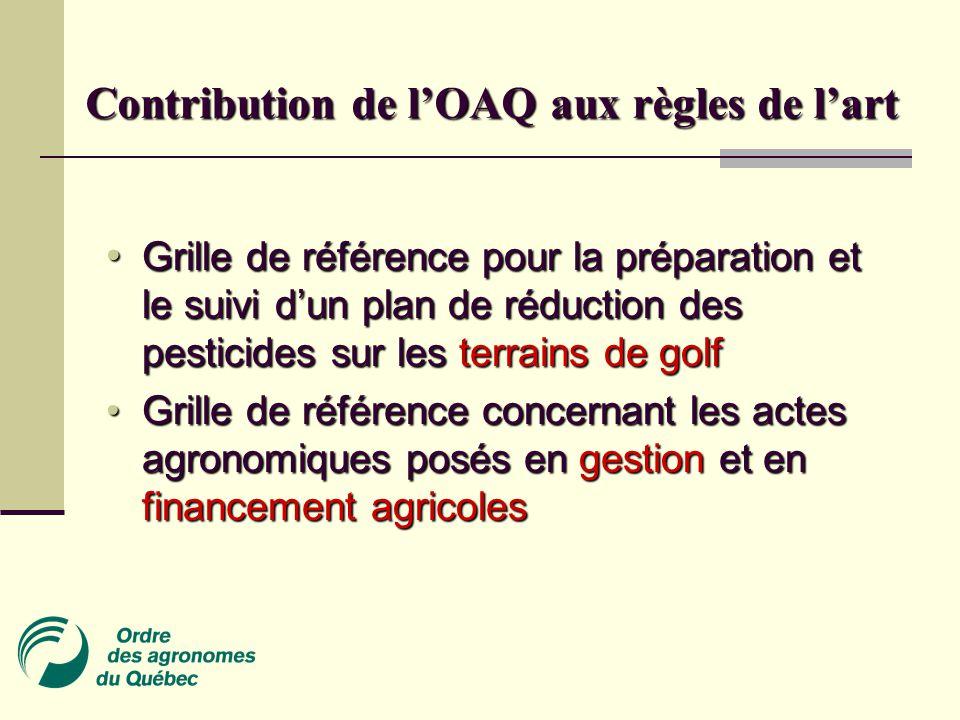 • Grille de référence pour la préparation et le suivi d'un plan de réduction des pesticides sur les terrains de golf • Grille de référence concernant les actes agronomiques posés en gestion et en financement agricoles Contribution de l'OAQ aux règles de l'art