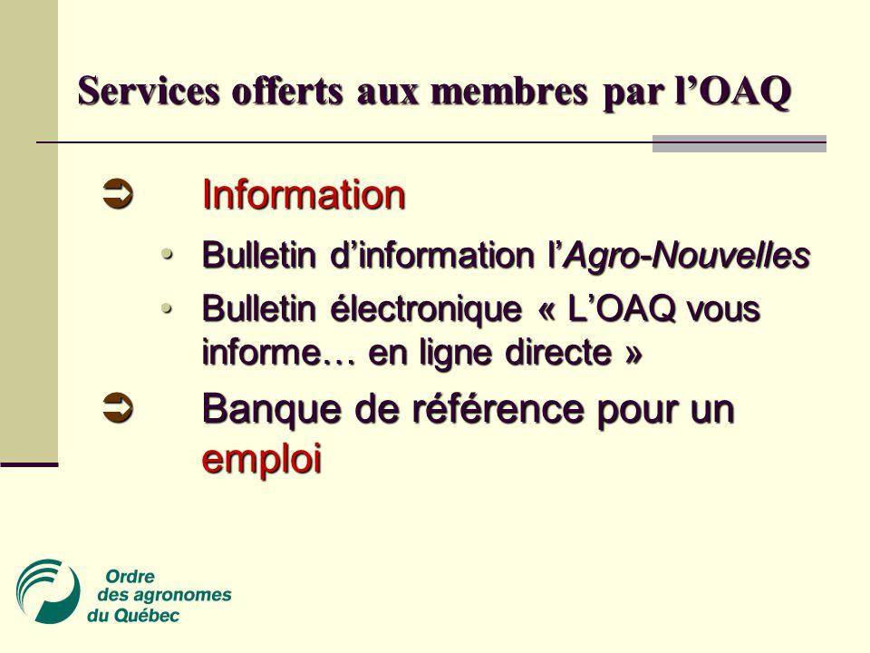 Services offerts aux membres par l'OAQ  Information • Bulletin d'information l'Agro-Nouvelles • Bulletin électronique « L'OAQ vous informe… en ligne directe »  Banque de référence pour un emploi