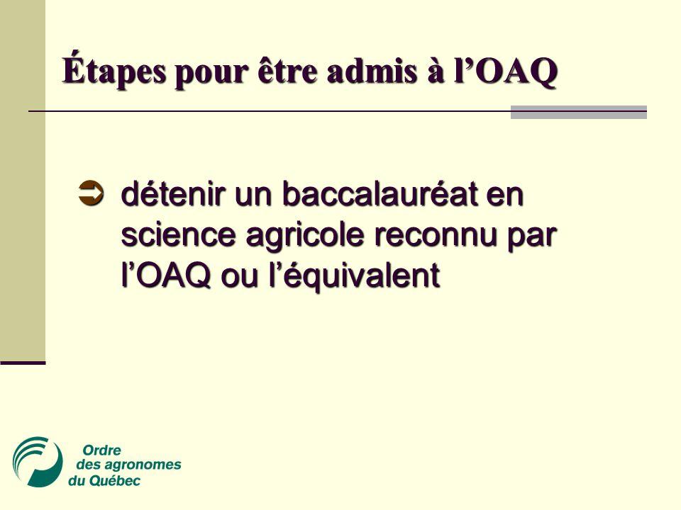 Étapes pour être admis à l'OAQ  détenir un baccalauréat en science agricole reconnu par l'OAQ ou l'équivalent
