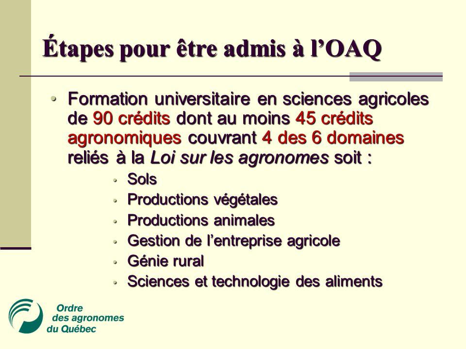 Étapes pour être admis à l'OAQ • Formation universitaire en sciences agricoles de 90 crédits dont au moins 45 crédits agronomiques couvrant 4 des 6 domaines reliés à la Loi sur les agronomes soit : • Sols • Productions végétales • Productions animales • Gestion de l'entreprise agricole • Génie rural • Sciences et technologie des aliments