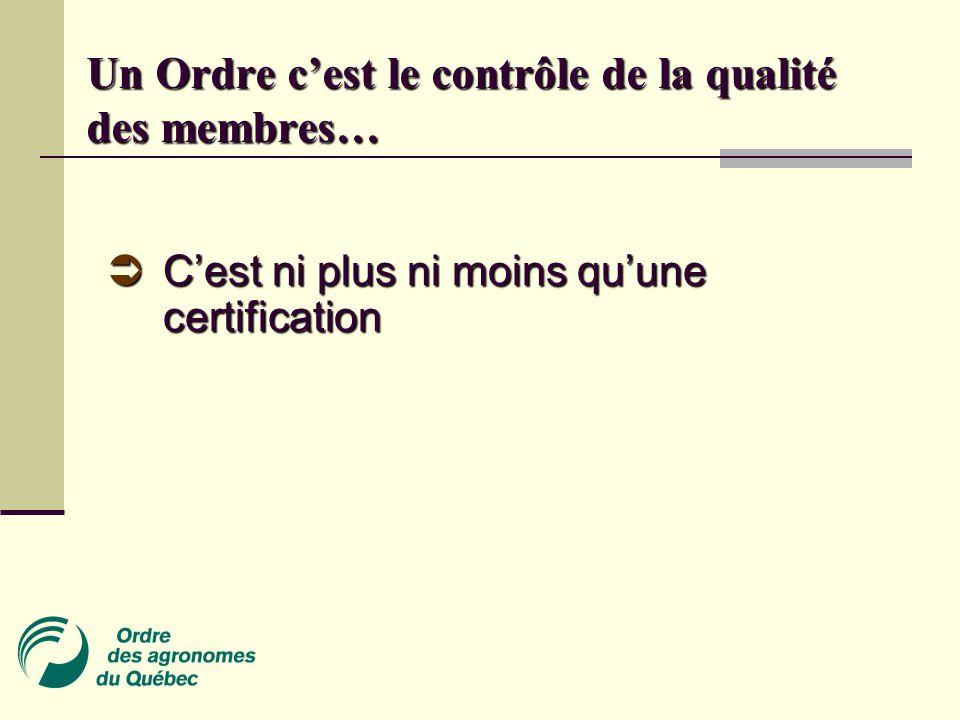 Un Ordre c'est le contrôle de la qualité des membres…  C'est ni plus ni moins qu'une certification