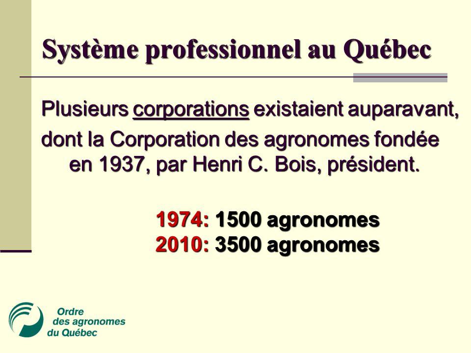 Système professionnel au Québec Plusieurs corporations existaient auparavant, dont la Corporation des agronomes fondée en 1937, par Henri C.