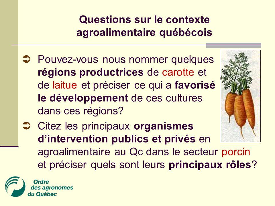 Questions sur le contexte agroalimentaire québécois  Pouvez-vous nous nommer quelques régions productrices de carotte et de laitue et préciser ce qui a favorisé le développement de ces cultures dans ces régions.